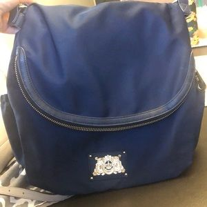 Used juicy couture diaper bag. Navy blue and gold